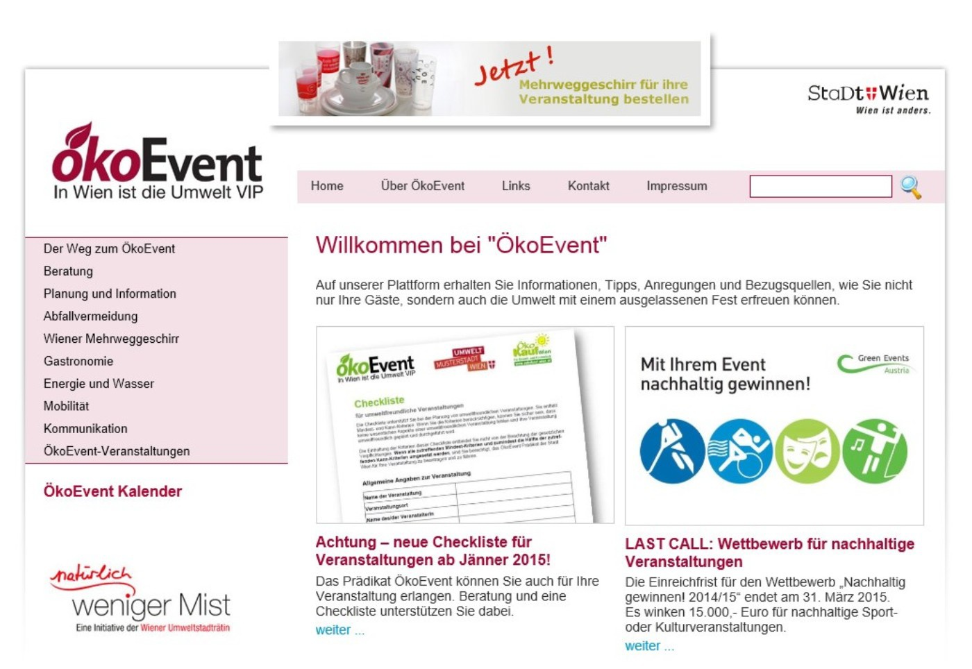 Sreenshot der Website www.oekoevent.at