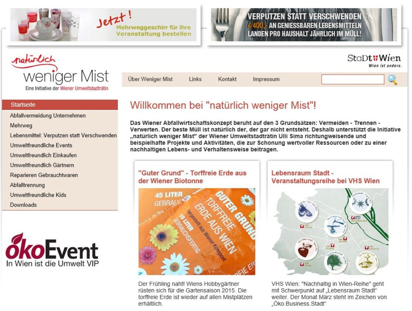 Sceenshot der Website www.wenigermist.at